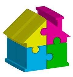 3d house from puzzles vector image vector image