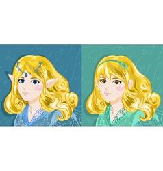 Elf and Human Girl vector image