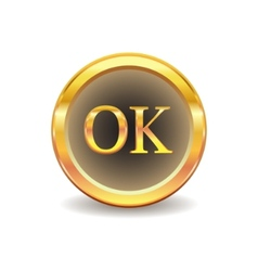 gold button with ok sign vector image vector image