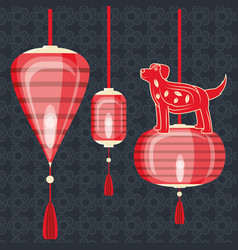happy chinese year 2018 year of dog design vector image vector image