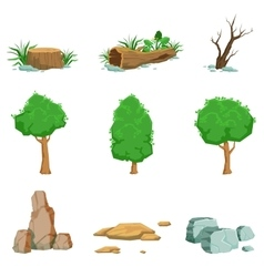 Natural Landscape Objects Set Of Detailed Icons vector image