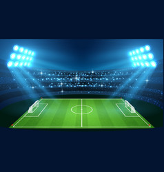 soccer stadium with empty football field and vector image vector image