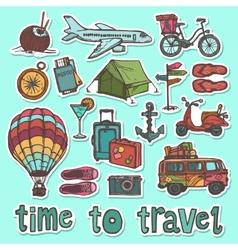 Travel sketch stickers set vector image vector image
