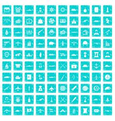 100 combat vehicles icons set grunge blue vector
