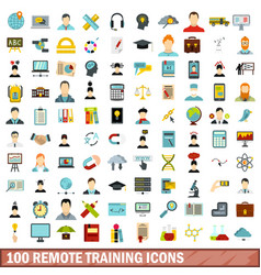 100 remote training icons set flat style vector