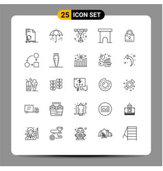 25 user interface line pack modern signs and vector