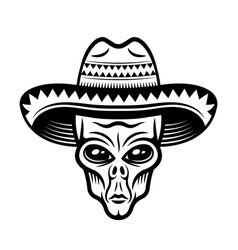 Alien head in sombrero hat vector