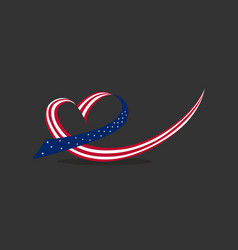 American flag ribbon forms the heart usa vector