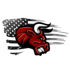 Angry mad bull bursting through wall vector