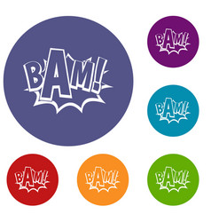 Bam comic book bubble icons set vector