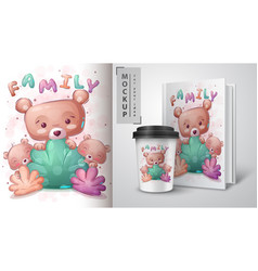 Bear family poster and merchandising vector