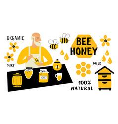 bee honey funny doodle set beekeeper apiculture vector image