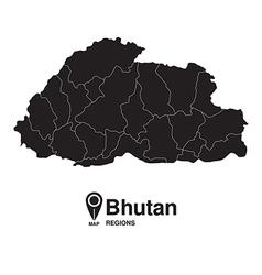 Bhutan map regions silhouette vector image