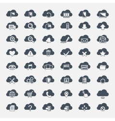 Big set of forty-six black cloud shapes with icons vector