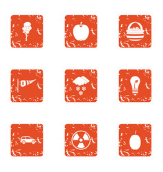 Bioengineering icons set grunge style vector