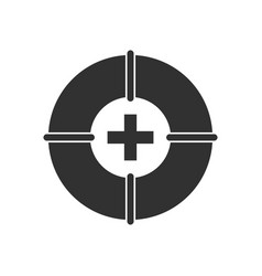 Black icon on white background lifebuoy with cross vector