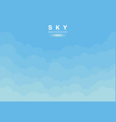 blue sky and clouds background paper cut style vector image