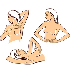 Breast self exam vector