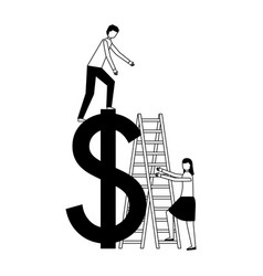 business people stairs dollar symbol vector image