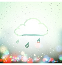 cloud and drops painted on Sweaty Window vector image