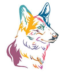 colorful decorative portrait of dog welsh corgi vector image