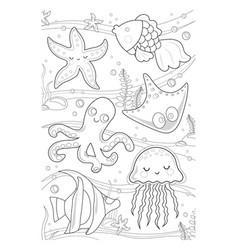 coloring book marine life page sea life vector image