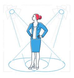 Confident businesswoman - line design style vector