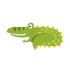 Crocodile Curling Up Like Cat Flat Cartoon Green vector