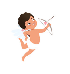 Cute baby cupid character shooting a bow happy vector