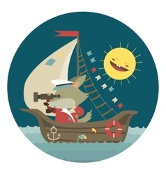 Cute captain wolf travelling by ship on sea vector image