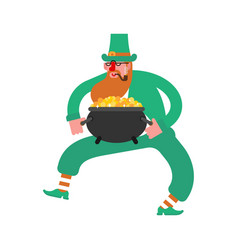dancing leprechaun dwarf with red beard and vector image