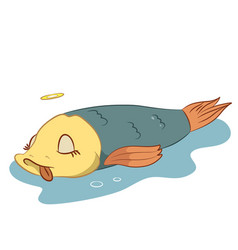 Dead fish lying in a pond vector