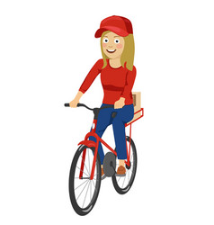 Delivery service teenager girl riding bicycle vector