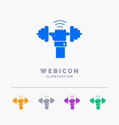dumbbell gain lifting power sport 5 color glyph vector image