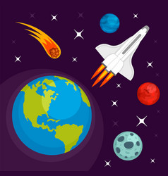 Earth planet in space concept background flat vector