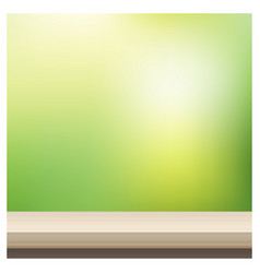 Empty table top on blurred garden background vector