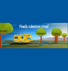family adventure travel banner vector image
