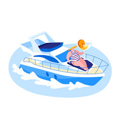 female character traveling on luxury yacht at sea vector image