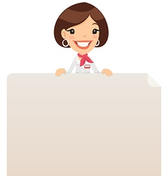 female manager looking at blank poster on top vector image