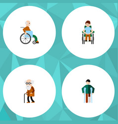 flat icon disabled set of injured disabled person vector image