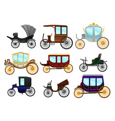 flat set of old horse-drawn carriages vector image