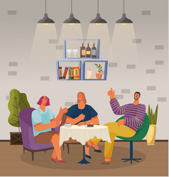 Friends on meeting in coffeehouse cozy interior vector