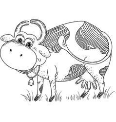 Funny cow with a bell vector