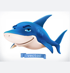 Funny shark 3d icon vector