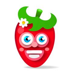 garden strawberry fruit or strawberries flat vector image