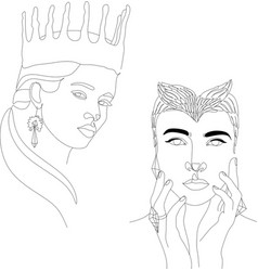 girl with crown line drawing print minimalist vector image