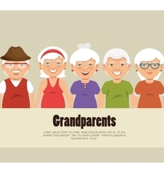 Grandparents group avatars characters vector