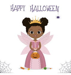 Halloween party cute african american girl vector