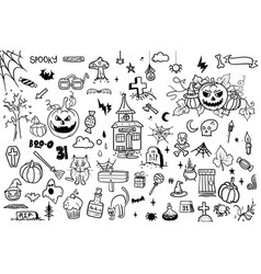 hand drawn doodle cartoon collection set vector image