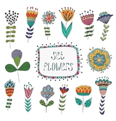 Hand Drawn vintage floral elements Flowers vector image